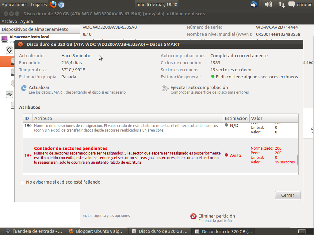 Reparar sectores da ados del disco duro con ubuntu for Donde reparar mi roomba