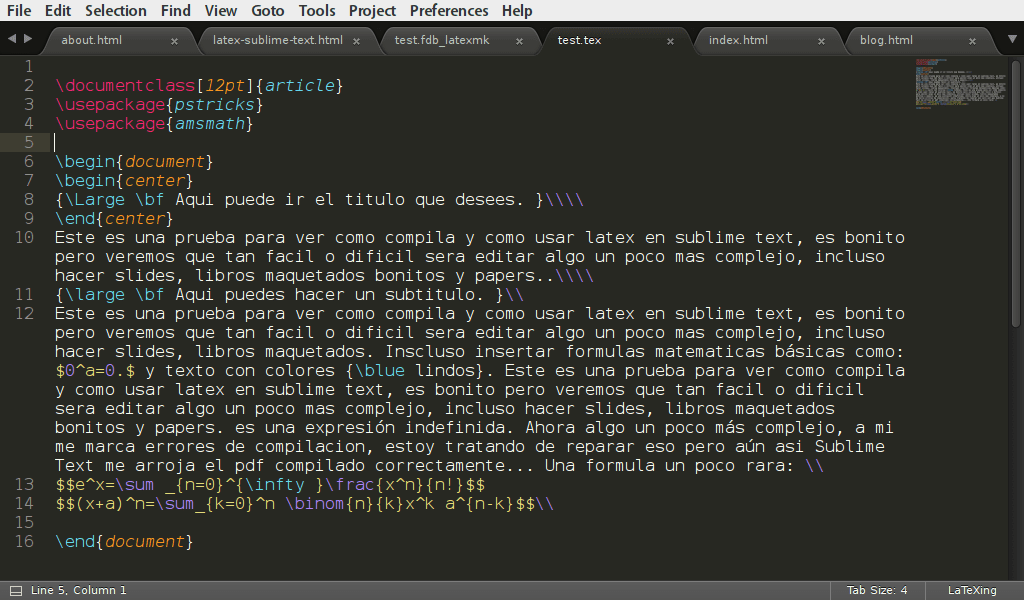 Sublime text edition tex file screenshot