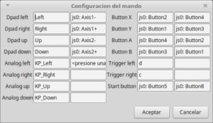 Configuración del mando