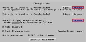 Configuración disqueteras