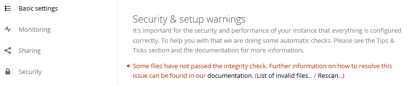 Some files have not passed the integrity check. Further information