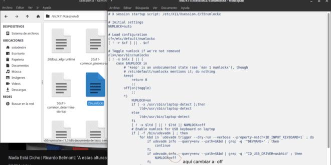 Desactivar teclado numérico por default en XFCE (Xubuntu 18.04.1) en laptop