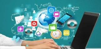 La imagen muestra unas manos tecleando un portátil y muchos iconos sobreimpresos indicando actuar en modo multitarea