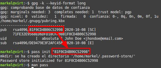 Obtener hash para password-store init